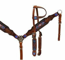 Showman Red White Blue Beaded Leather Bridle Headstall Breast Collar Reins 13532