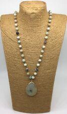 Fashion matt Amazonite Stones Chain stone Pendant Necklace handmade woman gift
