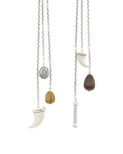 New CHARRIOL Kucha Tigers Eye stainless steel st. silver Horn Tassel Necklace