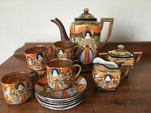 Vintage Hand Painted Japanese Satsuma 15 piece Coffee / Tea Set