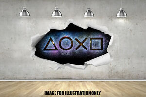 Gaming PS Buttons Rip Gamer Childrens Wall Stickers bedroom Wall Art 4 Size