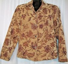 Coldwater Creek Size S Floral Brown Tapistry Button Up Blazer Jacket Coat