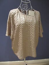 NEW Great Plains London Women Metallic Gold Top Short Sleeve Crew Neck Size L 12