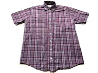 Cinch Mens Red Plaid Front Pocket Button Front Shirt Size Small