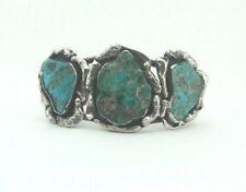 Vintage Native Navajo American Turquoise Sterling Silver Bracelet - 68 grams