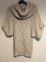 Cowl Roll neck Alpaca Wool Blend Cable Knitted Bardot Jumper Size 10 M&s