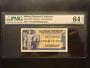 US, Military Payment Certificate, PMG, 25 Cents, Series 692, Uncirculated.