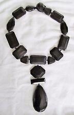 BiG Facet Cut Blk Stone Toggle Gerda Lynggaard Monies Pendant Collar Necklace