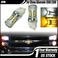 LED Turn Signal Light Bulbs White-Amber Switchback for Chevy Silverado 1500 2500