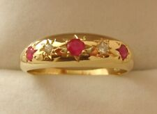 GENUINE 9K 9ct SOLID GOLD  NATURAL RUBY & DIAMOND ANNIVERSARY GYPSY RING