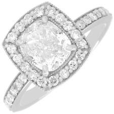 GIA Certified 2.00 CTW Cushion Cut Diamond Engagement Ring 18k Gold