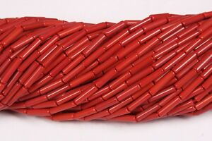 Red Stone(Pack-2)Plain Tube Pipe Shape Beads,14 Inch Long String,3x10 MM Approx
