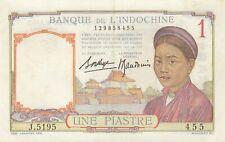 French Indo China Vietnam Banque de l'Indochine 1 piastre (1936) P-54  XF