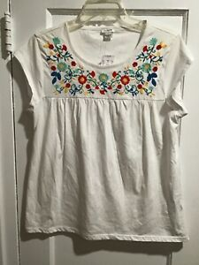 J.Crew Embroidered White Short Sleeve Peasant Top Womens Sz Small NWT