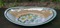 Vtge Japanese Green White and Peach Lusterware Oval Pin Dish with Flowers