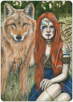 Fantasy Art ACEO PRINT Wolf Shaman Woman Red Hair Celtic Nature Animal Kindred