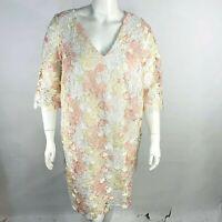 new ELOQUII for lane bryant lace sleeve ruffle v neck  dress 18 20 22