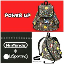 LeSportsac Nintendo Power Up Burst Voyager Backpack Super Mario Coin Zip Pull