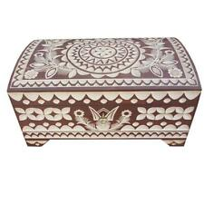 WOODEN CARVED LARGE JEWELLERY CHEST IN BROWN COLOR LOCK AND KEY