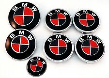 BLACK & RED CARBON FIBER Complete Set of Vinyl Sticker Overlay All BMW Emblems