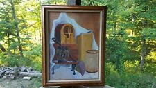 Vintage Oil Painting Country Midwest Old Radio Whiskey Barrels Signed Original