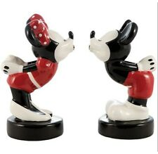 Disneys Mickey & Minnie Kissing Ceramic Salt & Pepper Shakers Style 2 NEW BOXED