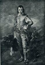 The Blue Boy in B&W Gainsborough 1903 Antique/Vtg print