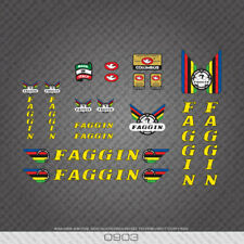 0903 Faggin Bicycle Stickers - Decals - Transfers - Yellow Text With Black Key