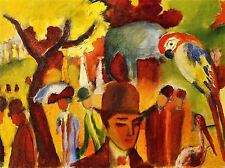 AUGUST MACKE SMALL ZOOLOGICAL GARDEN BROWN YELLOW OLD ART PAINTING PRINT 312OMA
