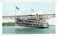 Poughkeepsie NY-STEAMER WASHINGTON IRVING AT TRAIN BRIDGE-Postcard Hudson River