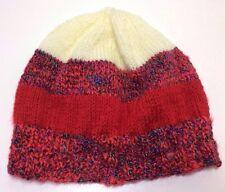 Women's Ladies Hand Knitted London Beanie Cap Hat Tight Woollen Warm Red NEW