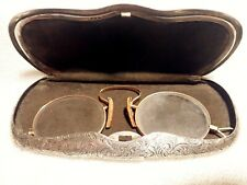 1913 10K SOLID GOLD LORGNETTE IN STERLING SILVER ELABORATELY ENGRAVED CASE!
