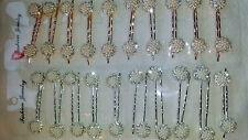 Joblot 20 pairs Mixed Colour Diamante Metal Hair slide NEW wholesale lot D