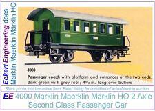 EE 4000 LN Marklin Maerklin Märklin HO 2 Axle Green Passenger Car LikeNew Cond