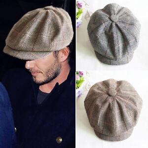 Men Boy Flat Cap s Hat Herringbone Tweed Wool Baker Newsboy Gatsby