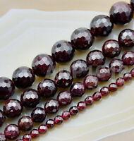 Faceted Natural Dark Red Garnet Gemstone Round Beads 16'' 4mm 6mm 8mm 10mm