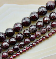 Faceted Natural Dark Red Garnet Gemstone Round Beads 16'' 4mm 6mm 8mm 10mm