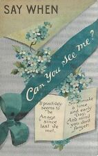 """Say When""~Can You See Me?~Blue Forget-Me-Nots~Turquoise Ribbon~Silver~BB London"