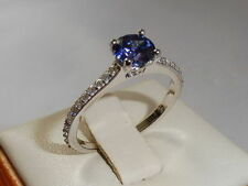 Sterling Silver Sapphire Round Solitaire with Accents Fine Gemstone Rings