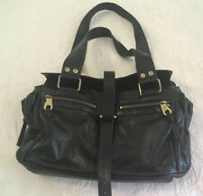 Auth MULBERRY Mabel Black Grained Leather Small Tote HandBag VGUC