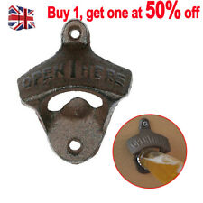 Cast Iron Wall Mounted Bottle Beer Opener Bar Heavy Vintage Rustic Antique Gift