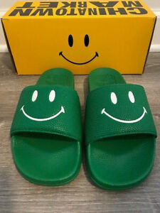 New with Box Mens Chinatown Market Smiley Green/White Slides 9, 10, 11, 12, 13