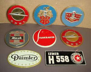 1950s Wheaties Tin Car Badges 7 Lot  Nash Opel Packard DeSoto Studebaker Diamler