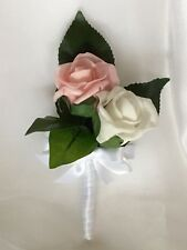 1x Pink/White Artificial Rose Wedding Bridal Flower Corsage Or Double Buttonhole