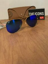 Ray-Ban Sunglasses Aviator Gold Frame Blue Mirror Flash Lens RB3025 112/17 58mm