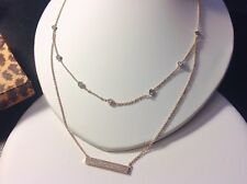CZ By The Yard-Bar-2 Layer Necklace-Gold Rhodium Plated-Double Chain-Adjustable