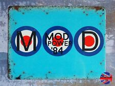 Mod Power 1984 Blue Small Sign - Vespa Scooter Lovers Dad Grandad Gift Revival