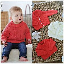 Baby KNITTING PATTERN Babies Cable Jumper Cardigan Jacket Aran King Cole 4644