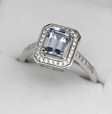 Emerald Cut Natural Aquamarine Halo Ring Sterling Silver Size 6.5