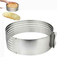 1pcs Stainless Steel Round Mousse Cake Ring Mold Layer Slicer Cutters mode qwe